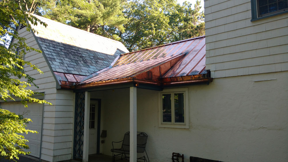 Copper gutters and standing seam panels Newton Ma