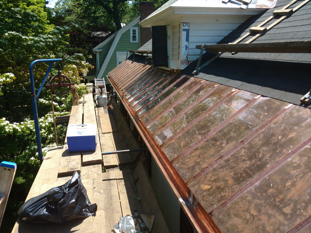 Copper lined wood gutters and standing seam panels Newton MA